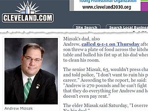 Andrew Mizsak, de 28 anos, só limpou o quarto após seu pai chamar a polícia.