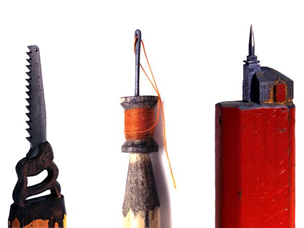 Algumas das obras de Dalton Ghetti, que usa apenas lâminas de barbear e agulhas de costura para esculpir suas peças