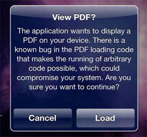 PDF Warning - iPhone