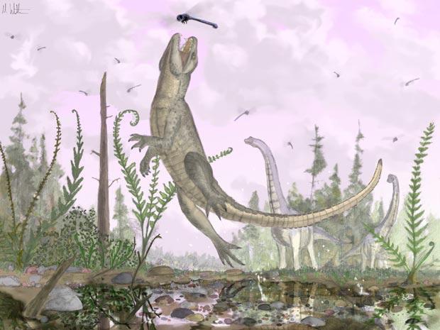 Reprodução artística do réptil 'Parasuchus', que teria vivido entre 110 e 80 milhões de anos atrás.