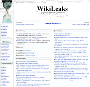 Página inicial do site WikiLeaks.