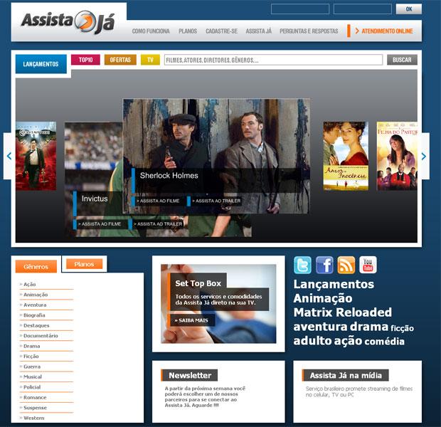 Site do Assiste Já oferece filmes para locação.