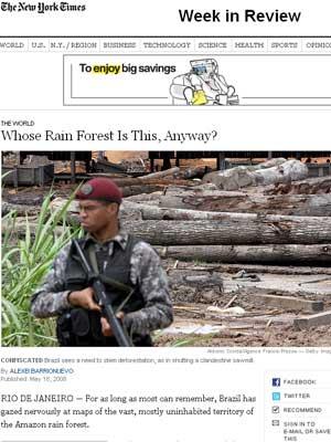 Reportagem do jornal 'New York Times' questiona a posse brasileira da Amazônia e gera discussões sobre possibilidade de intervenção internacional