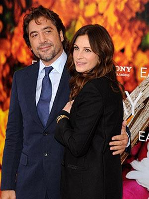 Julia Roberts e Javier Bardem na première do filme 'Comer, rezar, amar', em cinema de Nova York