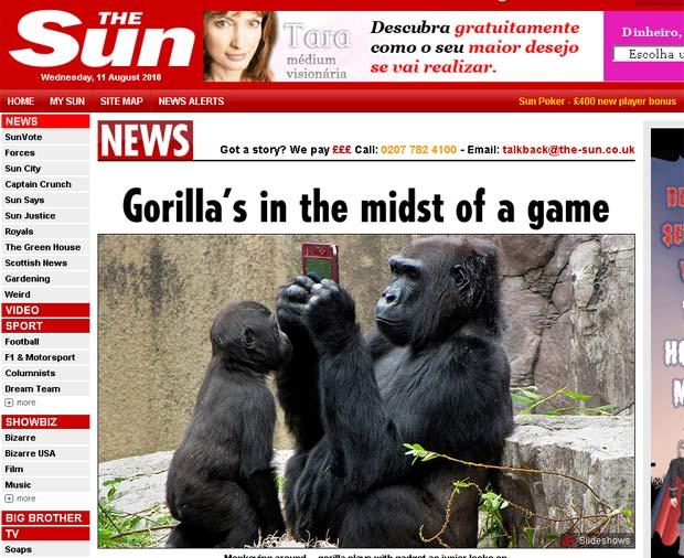 Gorila foi flagrado brincando com um Nintendo DS.