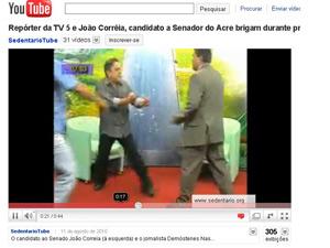 O candidato ao Senado João Correia (à esquerda) e o apresentador Demóstenes Nascimento brigam durante gravação de programa