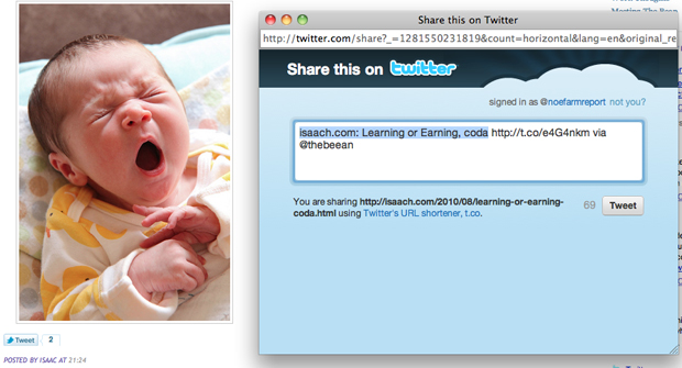 Twitter apresentou exemplo de uso do Tweet Button em blog.