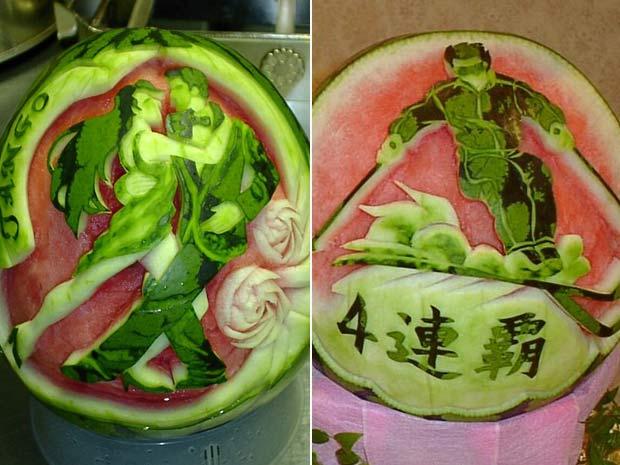 Esculturas feitas pelo chef japonês Takashi Itoh.