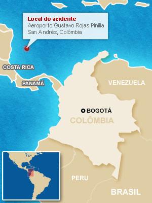 Acidente aéreo em aeroporto da Colômbia deixa um morto
