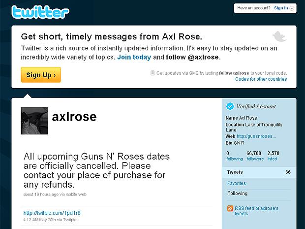 Captura de tela mostra tweet supostamente feito por hacker no perfil de Axl Rose.