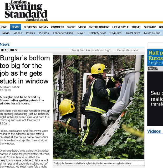 Ladrão precisou ser resgatado pelos bombeiros.