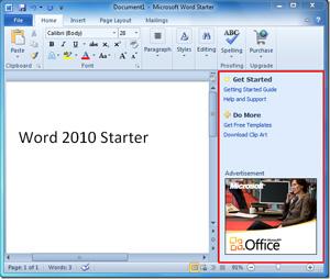 Anúncios na versão básica e gratuita do Word 2010 ficam em uma barra lateral.