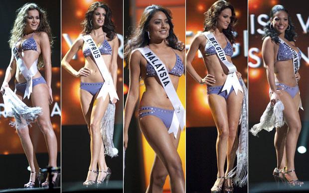 Mesmo modelo de biquíni foi usado pelas candidatas