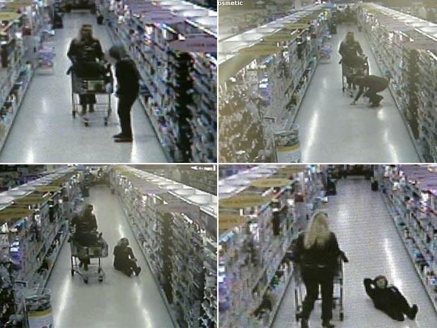 Mulheres encenaram queda em supermercado na Flórida.