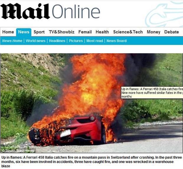 Seis incidentes foram registrados com a 458 Italia, em três deles os modelos pegaram fogo.