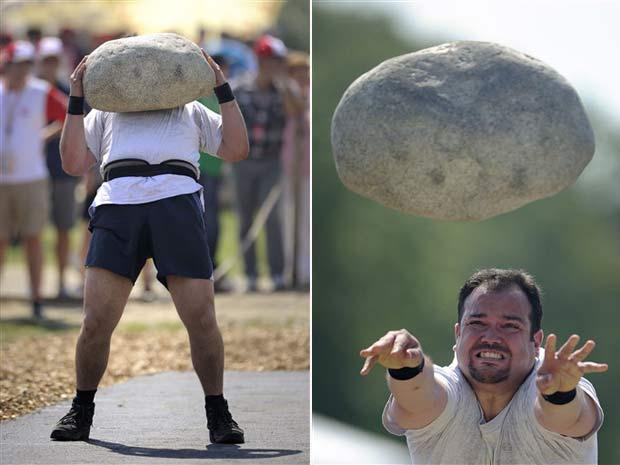 Competidores tiveram que lançar uma pedra de 83,5 quilos.