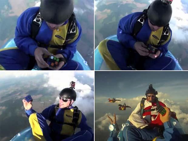 Ludwig Fichte resolveu cubo mágico após saltar de paraquedas a 4.300 m de altura.