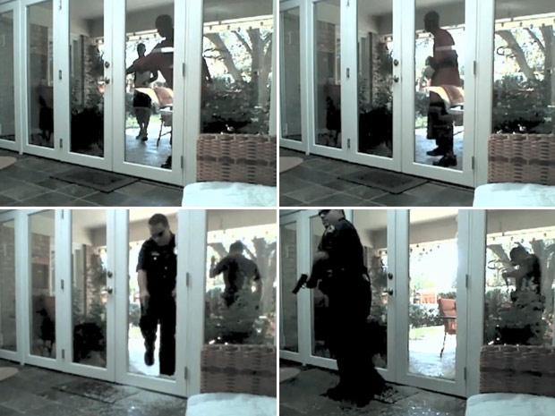 Americano vê ladrões invadirem residência. Na sequência, policiais chegam ao local do crime.