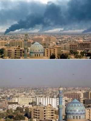 Imagem da capital Bagdá em dois momentos: sob invasão, em abril de 2003, e em 2008, 5 anos após a queda do regime de Saddam