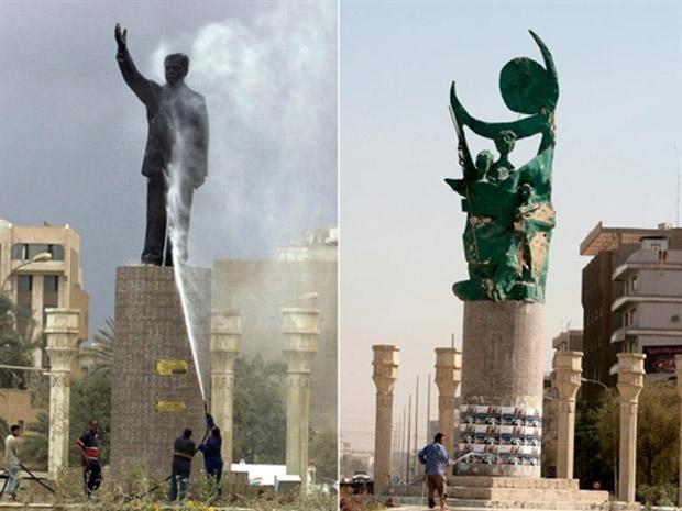 Trabalhadores limpam estátua de Saddam Hussein em março de 2003, em praça al-Ferdous, em Bagdá; na segunda imagem, o monumento à liberdade, erguida no mesmo após a queda de Saddam, em imagem de 2008