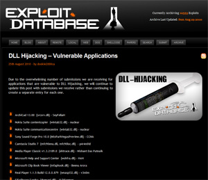Site mantém lista com aplicativos vulneráveis com a respectiva DLL que é carregada de forma insegura.