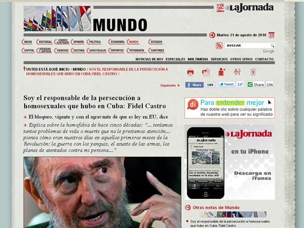 Página do jornal mexicano 'La Jornada' traz a segunda parte da entrevista exclusiva concedida por Fidel Castro