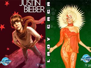 Justin Bieber e Lady Gaga viraram personagens de biografias em quadrinhos