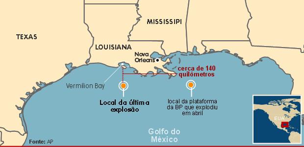 Mapa mostra o local das duas explosões recentes em plataformas de petróleo no Golfo do México