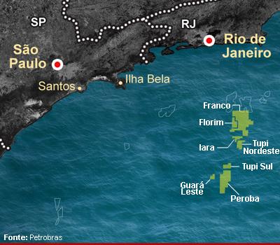 Mapa mostra as áreas incluídas na cessão onerosa