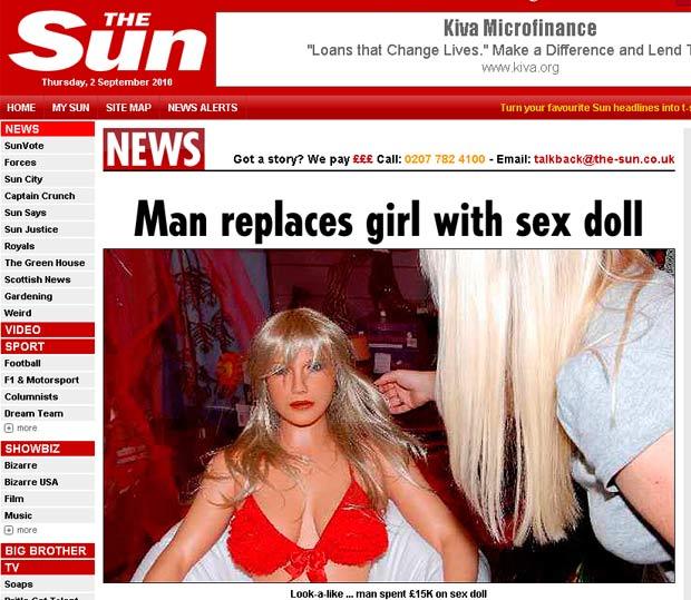 Homem encomendou boneca inflável idêntica à ex-namorada.