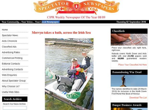 Mervyn Kinkead cruzou o mar da Irlanda em uma banheira.