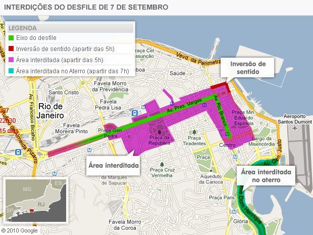 Como fica o trânsito durante o desfile de 7 de setembro no Rio