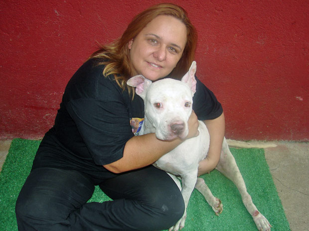 Patrícia Cancellara com a fêmea de pit bull Brisa, que ficou paraplégica após ser espancada e é mantida em um hotel para cães
