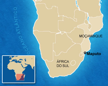 Mapa mostra a localização de Maputo, em Moçambique, onde ocorrem os conflitos