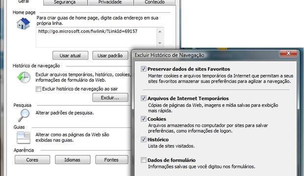 Limpeza de cache no Internet Explorer.