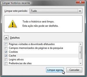 Limpeza de cache no Mozilla Firefox.