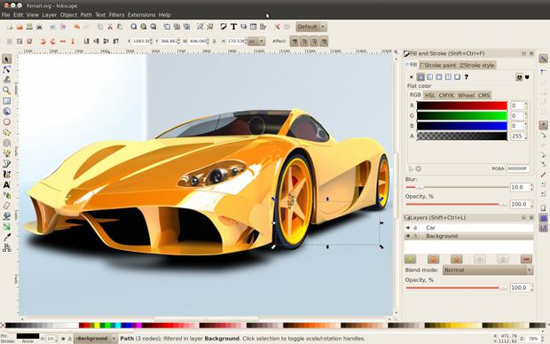 Inkscape, editor gratuito de imagens vetoriais.
