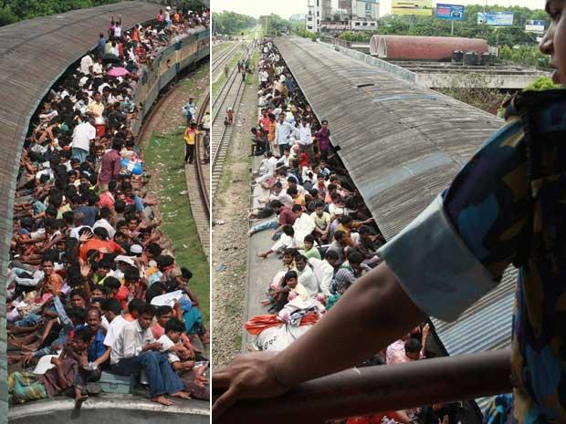 Em Bangladesh, muçulmanos lotam trem em Dhaka, para ir para casa e celebrar o Eid al-Fitr, a festa que marca o fim do mês sagrado do Ramadã.