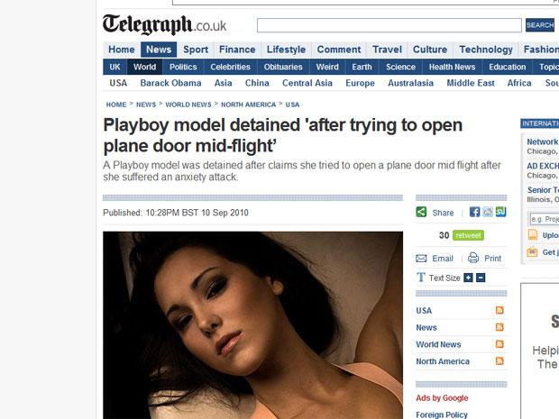 A modelo Tiffany Livingston em foto publicada por jornal britânico.