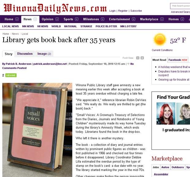 Livro foi devolvido com 35 anos de atraso.