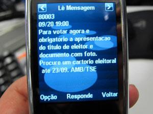 Mensagem sobre prazo enviada a eleitores em parceria do TSE com AMB