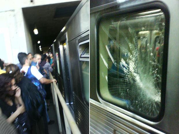 Vidros das janelas do Metrô foram quebrados