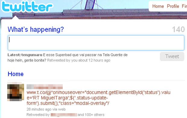 Usuários que tiverem este código na timeline do Twitter não devem passar o mouse em cima. Quem tiver publicado a mensagem, deverá apagá-la.