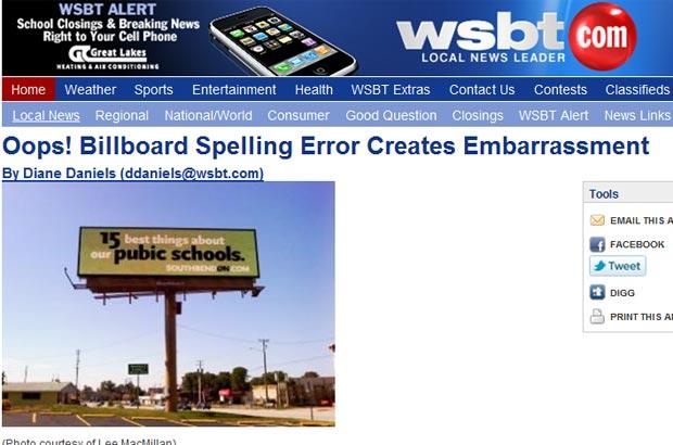 Anúncio apresenta um erro de grafia.