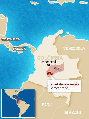 Mapa localiza a operação.