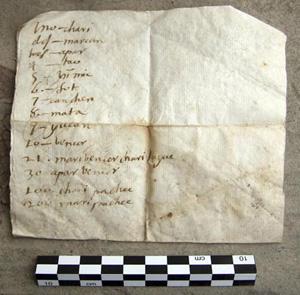 Manuscrito traz lista de números em espanhol e sua tradução para idioma extinto