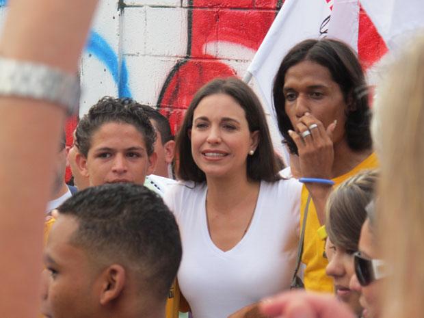 Mara Corina Machado em campanha nesta quinta-feira (23) em Miranda.