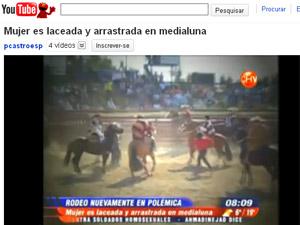 Imagens feitas por ativista mostram o momento em que mulher foi laçada na arena