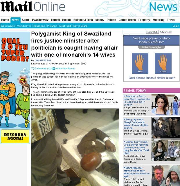 Momento em que o então ministro da Justiça foi flagrado por agentes da segurança em um quarto de hotel com a mulher do rei.