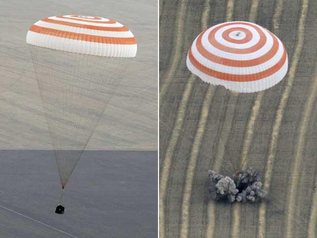 Nave Soyuz desceu com tranquilidade e pousou nas estepes do Cazaquistão.